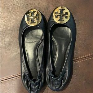 Tory Burch Minnie travel black leather flats sz 5